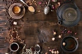 Surtido de té y café como fondo