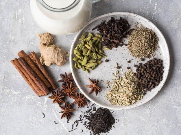 ingredientes del masala chai vista cenital