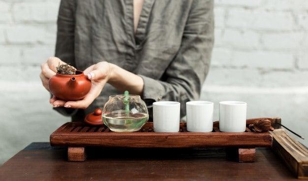 accesorios tradicionales de la ceremonia del té oolong