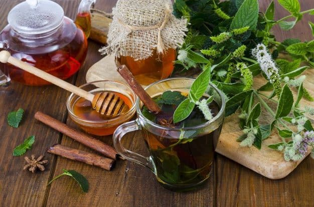 Herbal tea with mint and honey